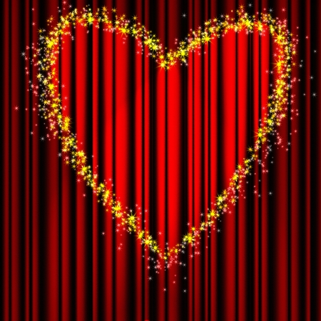 broadway show: Heart Valentines Day red theater curtain with a light heart-shaped