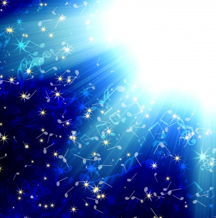 suns rays on a blue dark sky with with music notes, abstract background Stock Photo