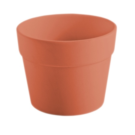 attentiveness: pot of red clay, isolated on white