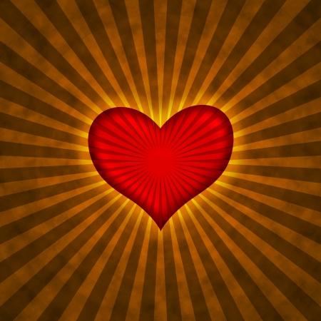 red heart with rays on a grunge  background, abstract photo