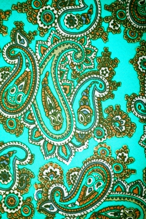lomo: silk fabric with a pattern cucumbers Stock Photo
