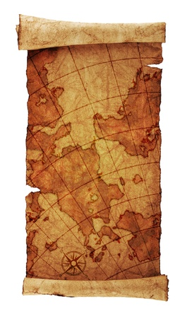 medieval scroll:    ancient scroll map, isolated on a white background