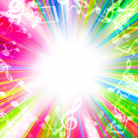 musik hintergrund: verschwommen Lichter in Form von musikalischen Zeichen auf einem farbigen Hintergrund
