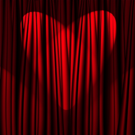 Heart Valentines Day red theater curtain with a light heart-shaped   photo