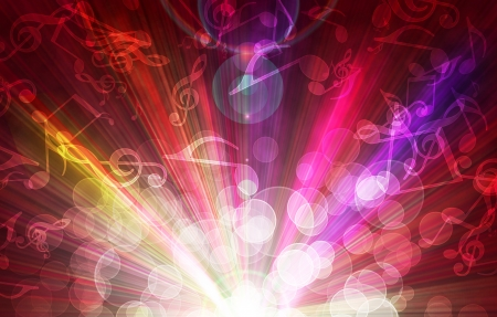 note pc: magic burst with music notes, abstract background