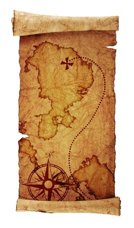 schatkaart: oude schatkaart, geïsoleerd op wit Stockfoto
