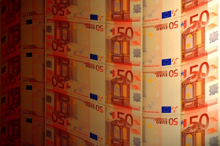tortuous: tortuous background of euro banknotes to the effect of lighting