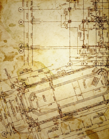 vintage architectural drawing, on grunge paper with some stains Stock Photo - 16488014