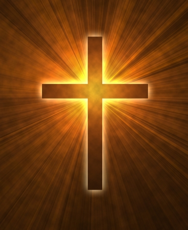 almighty:  glowing cross on a black background, with radial rays of light