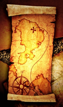 old treasure map, on a vintage background  photo