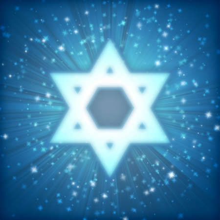 Star of David on a blue background among the stars  photo