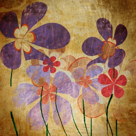 abstract flowers: art grunge vintage floral background