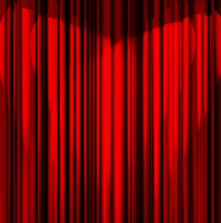 red theater curtain with a light heart-shaped photo