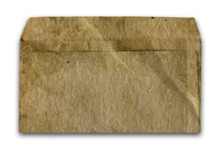 Vintage grungy old envelope  Dirt, folds and creases, Isolated on white  photo