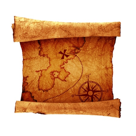 carte trésor: vieille carte au trésor, isolé sur blanc Banque d'images