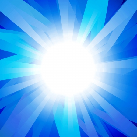 sun on a blue background with multicolored beams photo