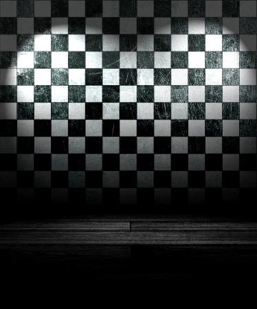 Black And White Check Grunge Room Stock Photo - 16503237