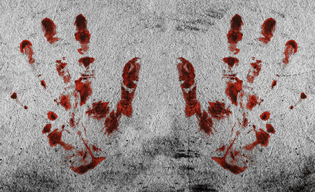 bloody hand print: Grunge background with a print of a bloody hands Stock Photo