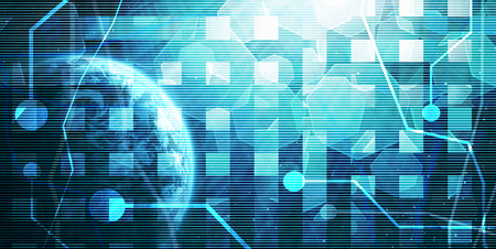world wide web: digital world on a dark blue, abstract