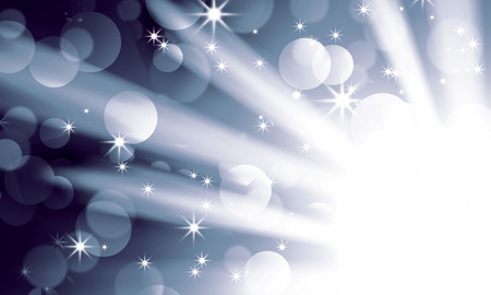 show cases: silver light spotlights on a dark