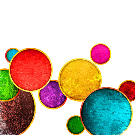 concentric circles: grunge colorful circles on a white background