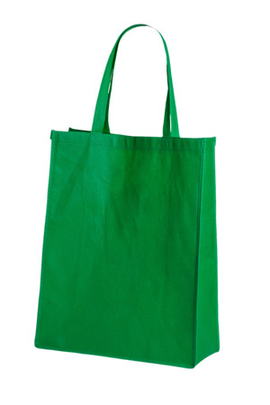 fabric bag: green cotton bag on white isolated background