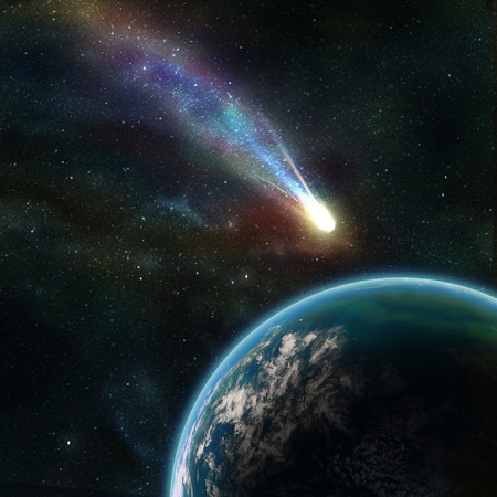 asteroid: Earth in space with a flying asteroid, abstract background
