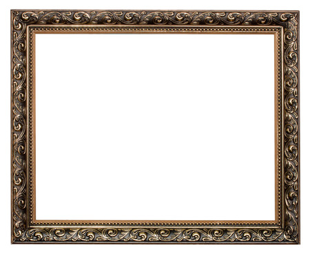 old photograph: gold antique frame isolated on white background