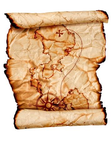 mapa del tesoro: antiguo mapa de un tesoro, aislado en blanco