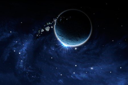 macrocosm: planet with an asteroid in the starry background