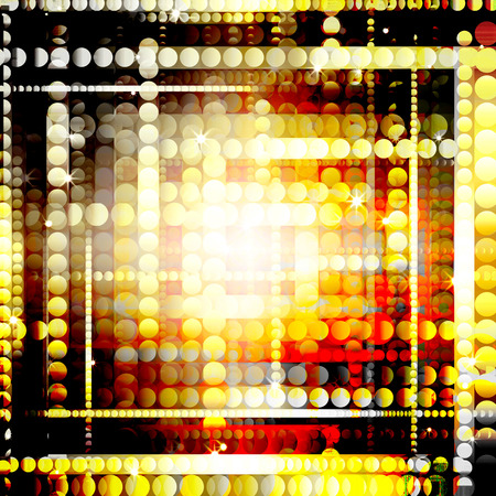 glittery: strips of shiny golden circles, abstract background Stock Photo