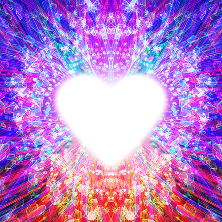 emanating: abstract design of multi-colored rays emanating from the radiant heart