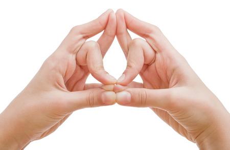 hand position: Las manos de un hombre se muestra en posici�n de yoga mudra mano drag�n. Disparo sobre blanco.
