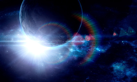 earth moving: planet with a flash of sun, abstract background