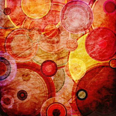 retro circles: abstract background of striped retro circles Stock Photo