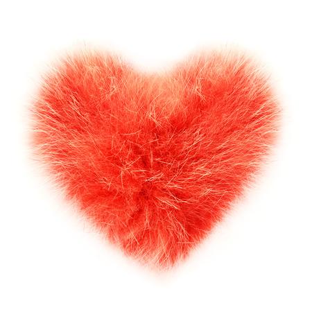 fetishes: isolated fluffy heart on white background Stock Photo