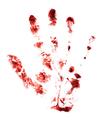 red hand: red hand print on a white