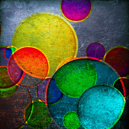 grunge colorful circles on a vintage background photo
