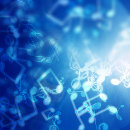 note pc: Blue abstract background with music notes Stock Photo