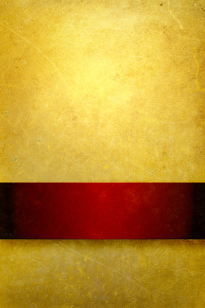 burnt edges: gold background with rich red ribbon
