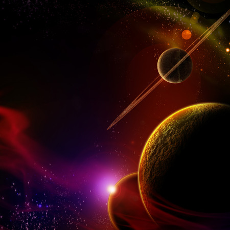 prerequisite: planet with sunrise on the background of stars