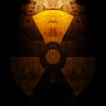 radioisotope: sign of radiation on the grunge wall