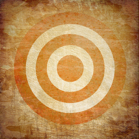 bull     s eye: vintage target painted on the dirty old tissue Stock Photo