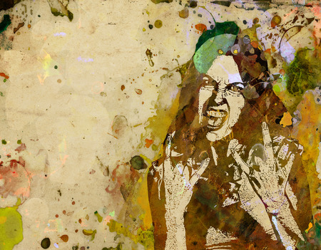 heavy metal: angry girl with with characteristic heavy metal hand gesture, watercolor grunge poster Stock Photo