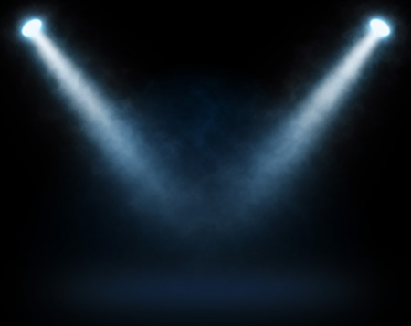 stage decoration abstract: Blue spotlights on a dark background, abstract