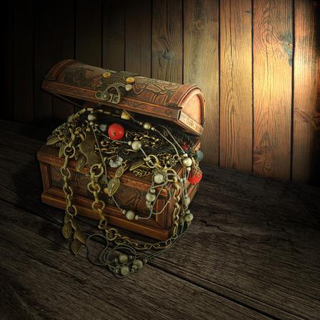cofre del tesoro: Cofre del tesoro aislado en una mesa de madera Foto de archivo