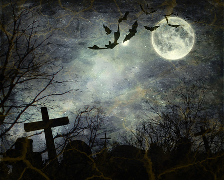 cemeteries: Halloween background. Bats flying in the night with a full moon in the background.