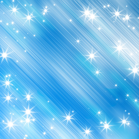 blue stars: bright glitters on a soft blue background Stock Photo