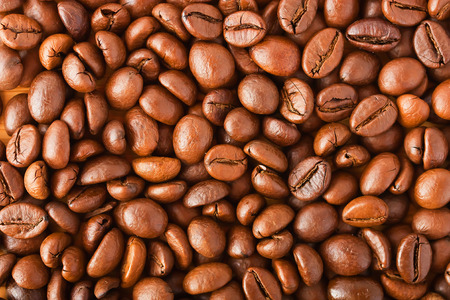 flay: delicious roasted coffee beans close-up photo Stock Photo