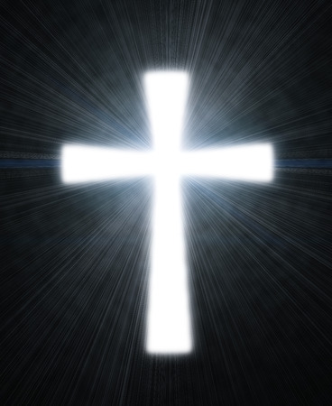 christian cross: glowing cross on a black background, with radial rays of light